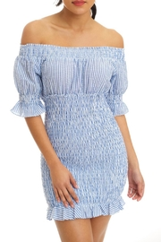 luxxel Stripe Smocked Dress - Front cropped