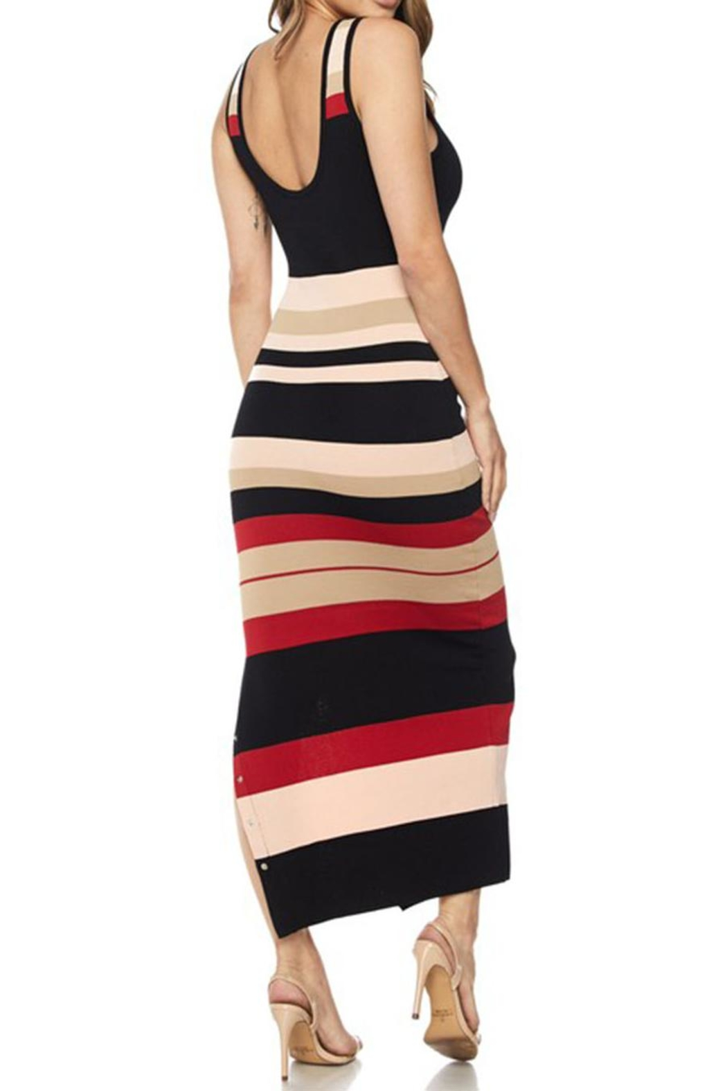 hot and delicious Stripe Snap Dress - Side Cropped Image