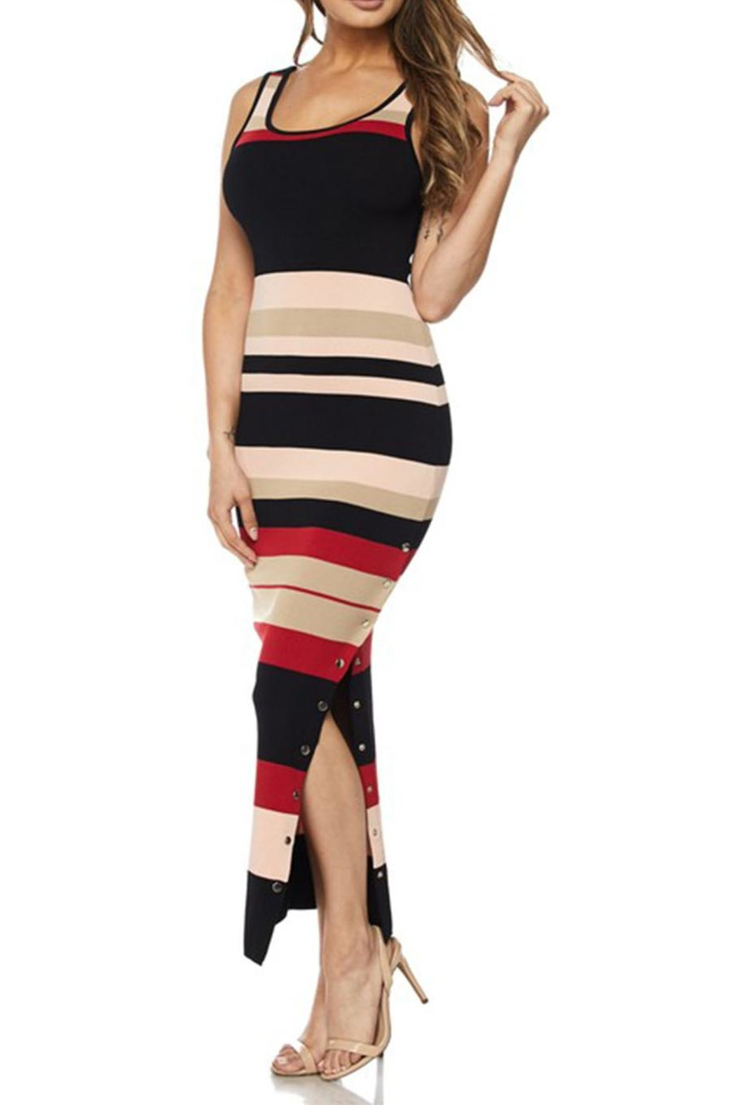hot and delicious Stripe Snap Dress - Main Image