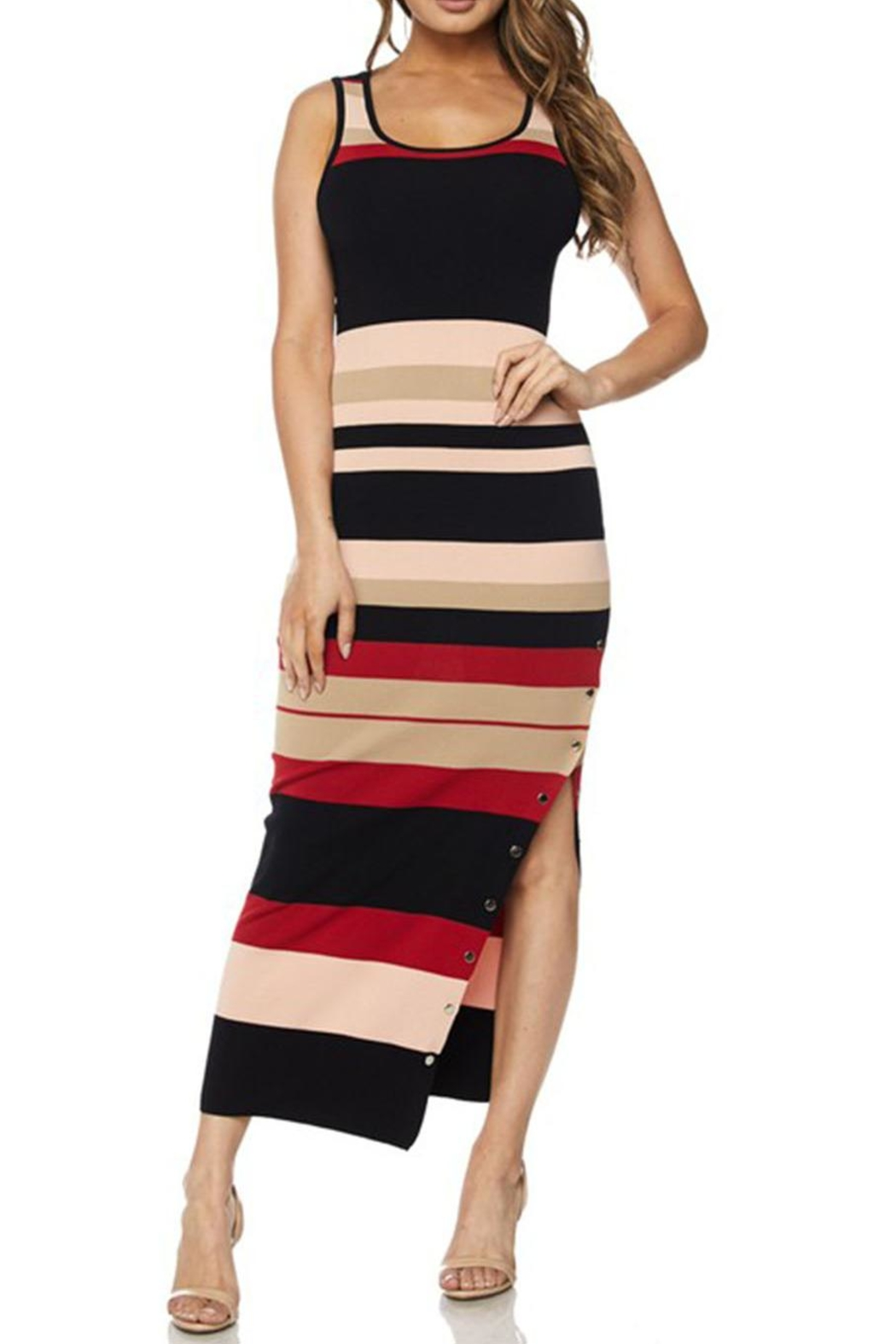 hot and delicious Stripe Snap Dress - Front Full Image