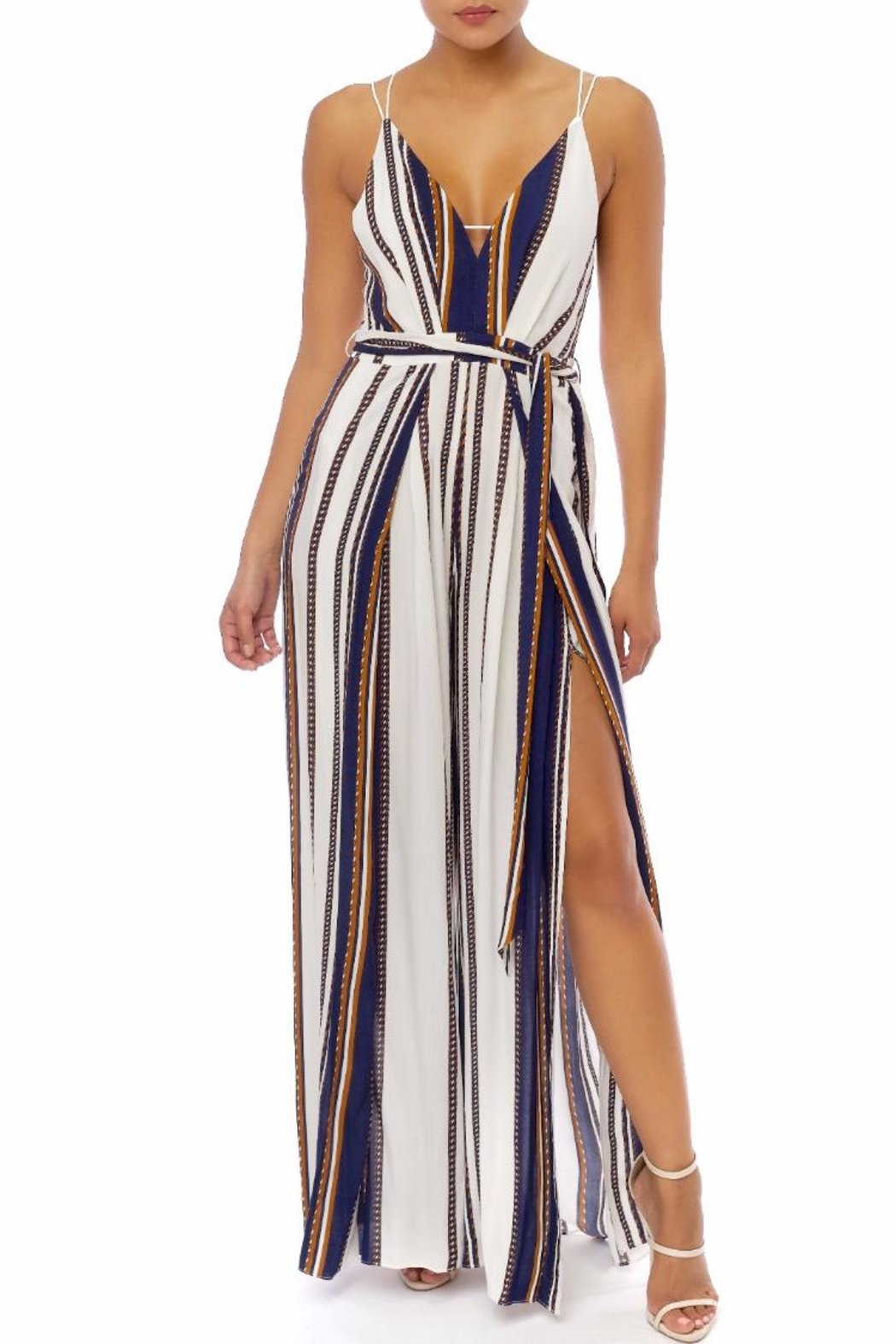 luxxel Stripe Strappy Jumpsuit - Main Image