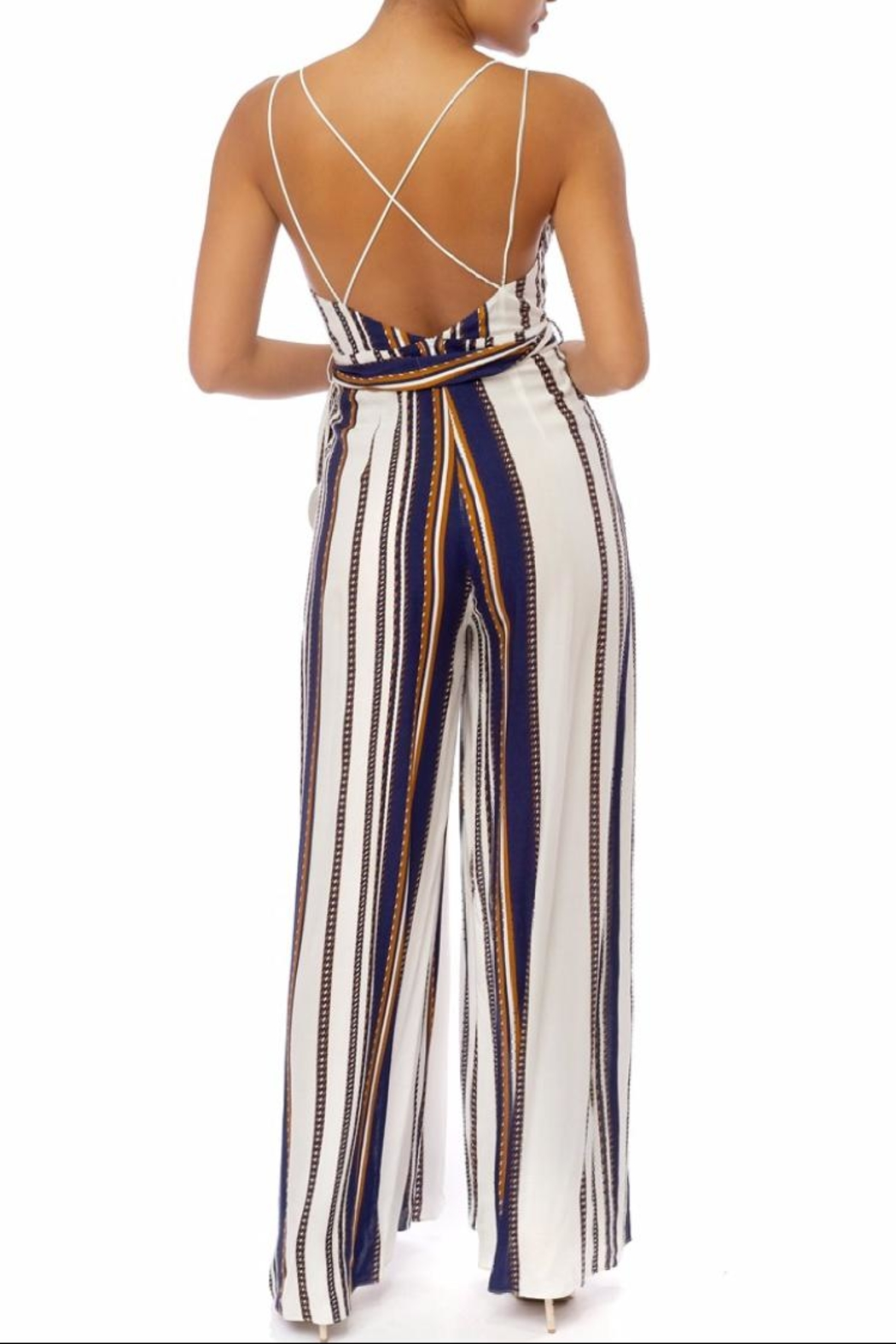 luxxel Stripe Strappy Jumpsuit - Front Full Image