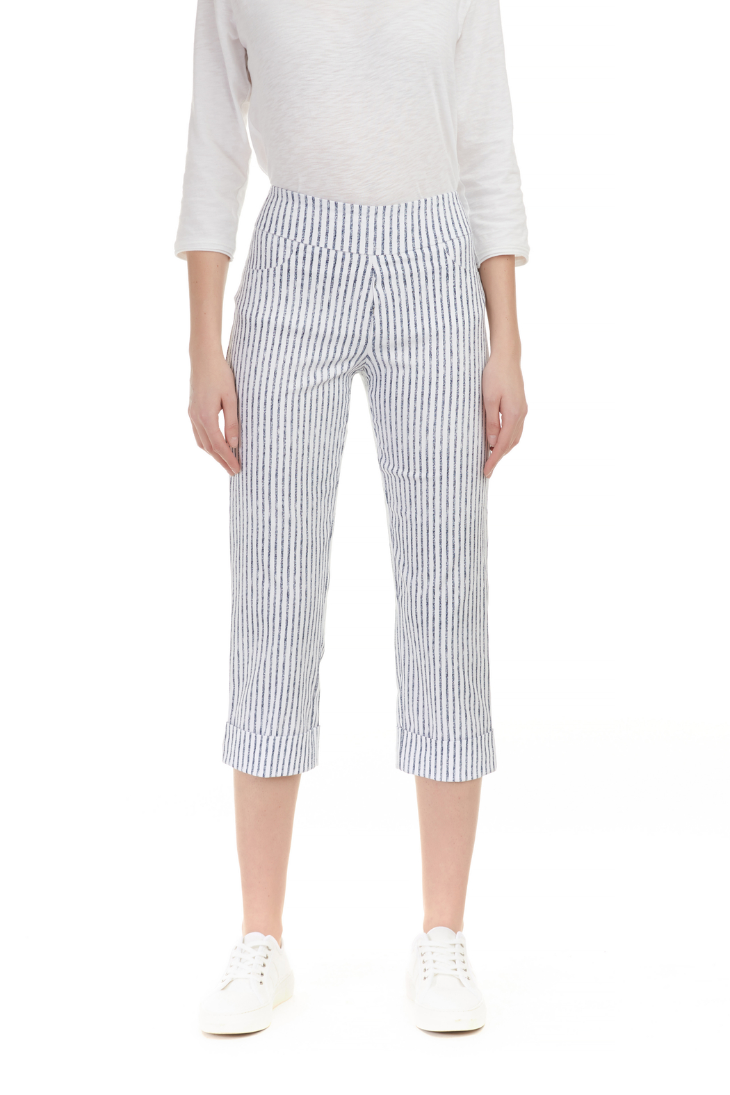 Charlie B Stripe Stretch Pant - Front Cropped Image