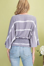 143 Story Stripe Surplice Kimono Top - Front full body