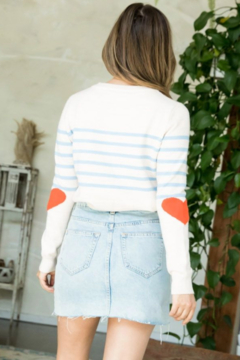 Thml Stripe Sweater with Heart Elbow - Alternate List Image