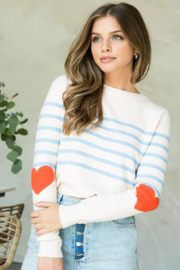 Thml Stripe Sweater with Heart Elbow - Product Mini Image
