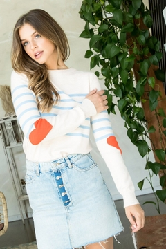 Thml Stripe Sweater with Heart Sleeves - Product List Image