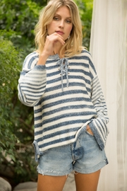 Hem and Thread Stripe Sweater with lace up neck - Product Mini Image