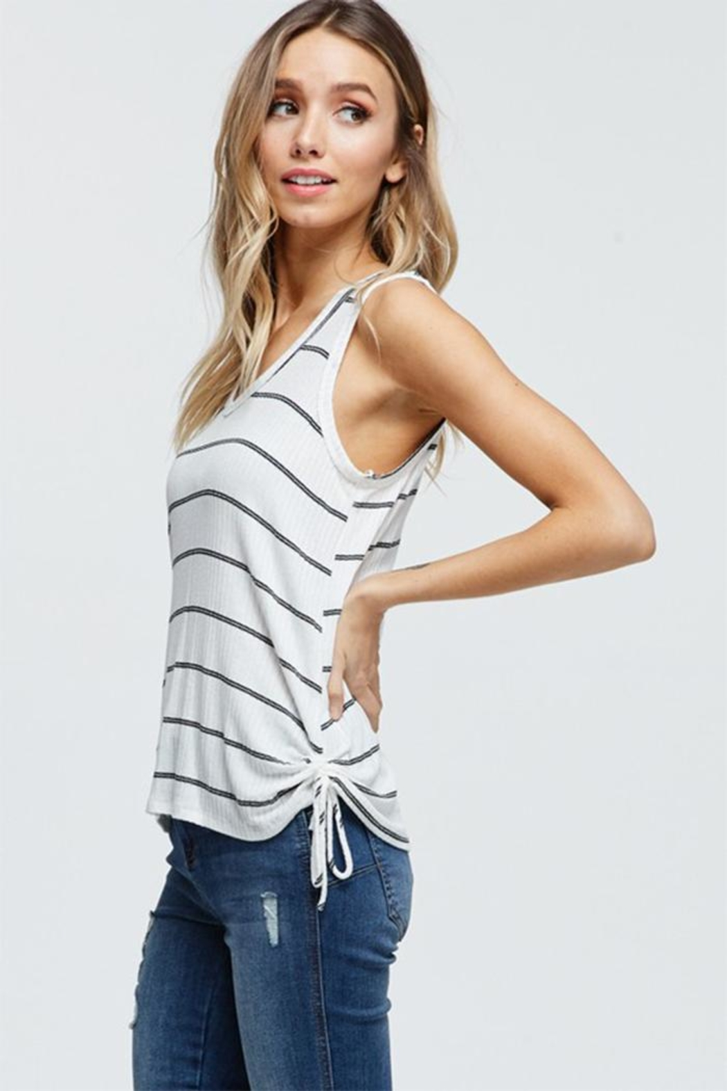 Jolie Stripe Tank Top - Front Cropped Image