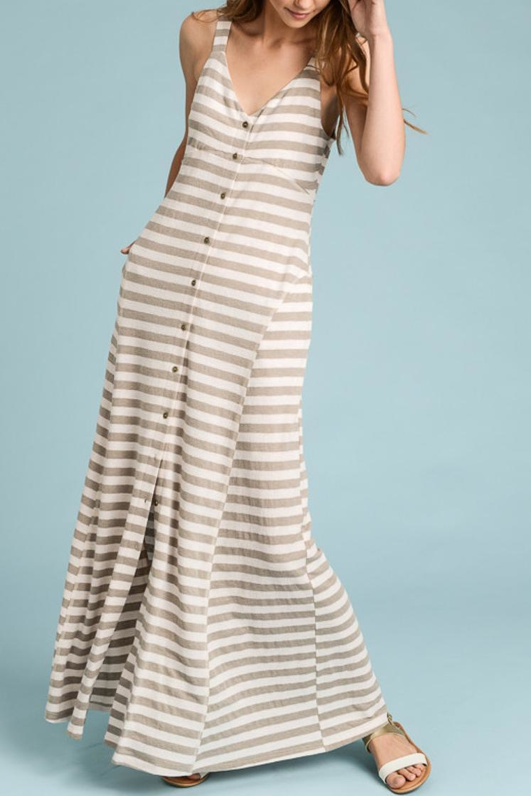 Doe & Rae Stripe Taupe Maxi - Front Cropped Image
