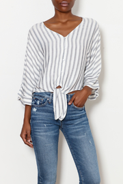 dress forum Stripe Tie Front Blouse - Product Mini Image