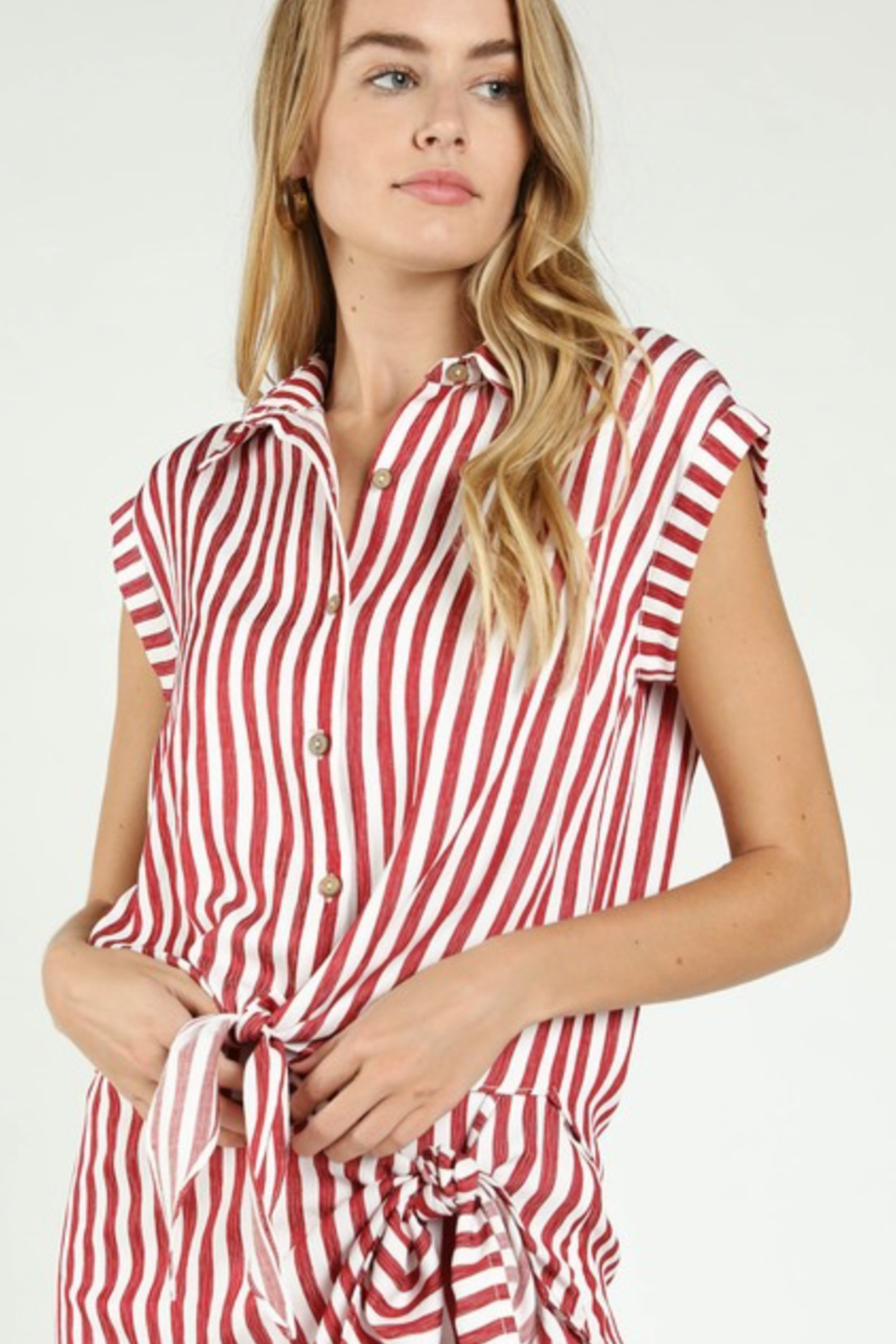 Honey Punch Stripe Tie Front Button Down - Side Cropped Image