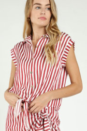 Honey Punch Stripe Tie Front Button Down - Side cropped