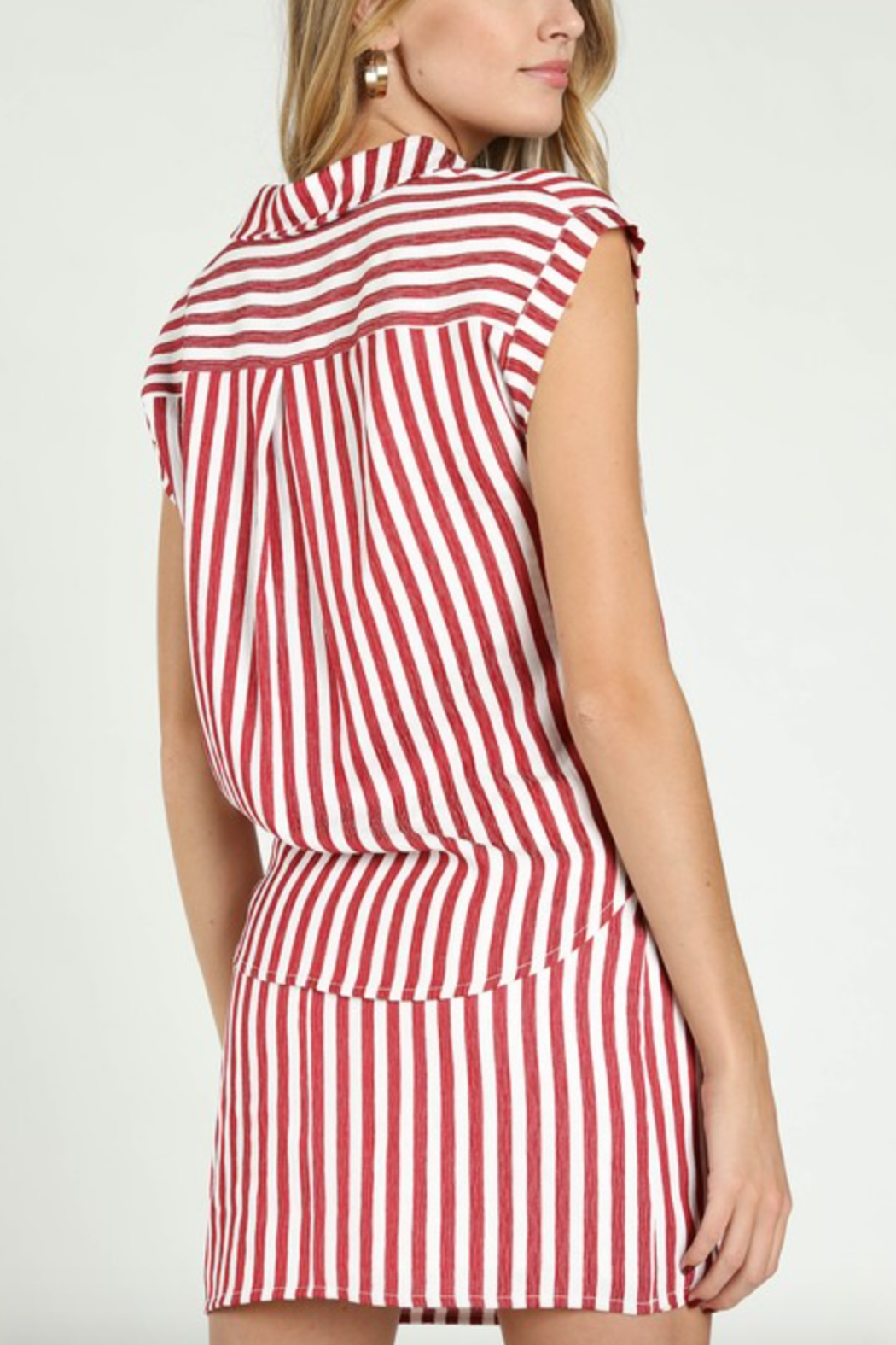 Honey Punch Stripe Tie Front Button Down - Front Full Image