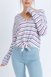 Love Tree Stripe Tie-Front Top - Product Mini Image