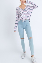 Love Tree Stripe Tie-Front Top - Back cropped