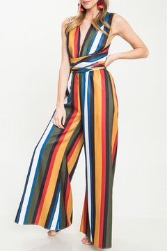 Shoptiques Product: Stripe Tie Jumpsuit
