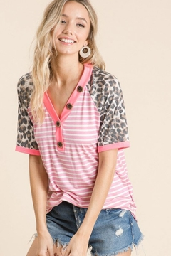 Shoptiques Product: Stripe Top with Leopard Sleeves