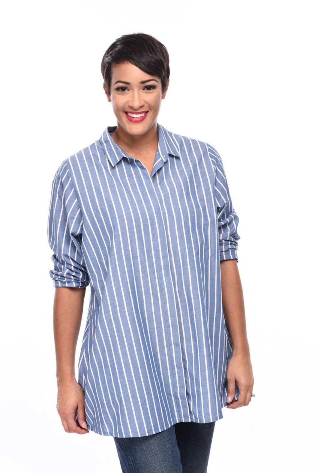 0e86c276608 Tulip Stripe Tunic Shirt from Cambria by New Moon — Shoptiques