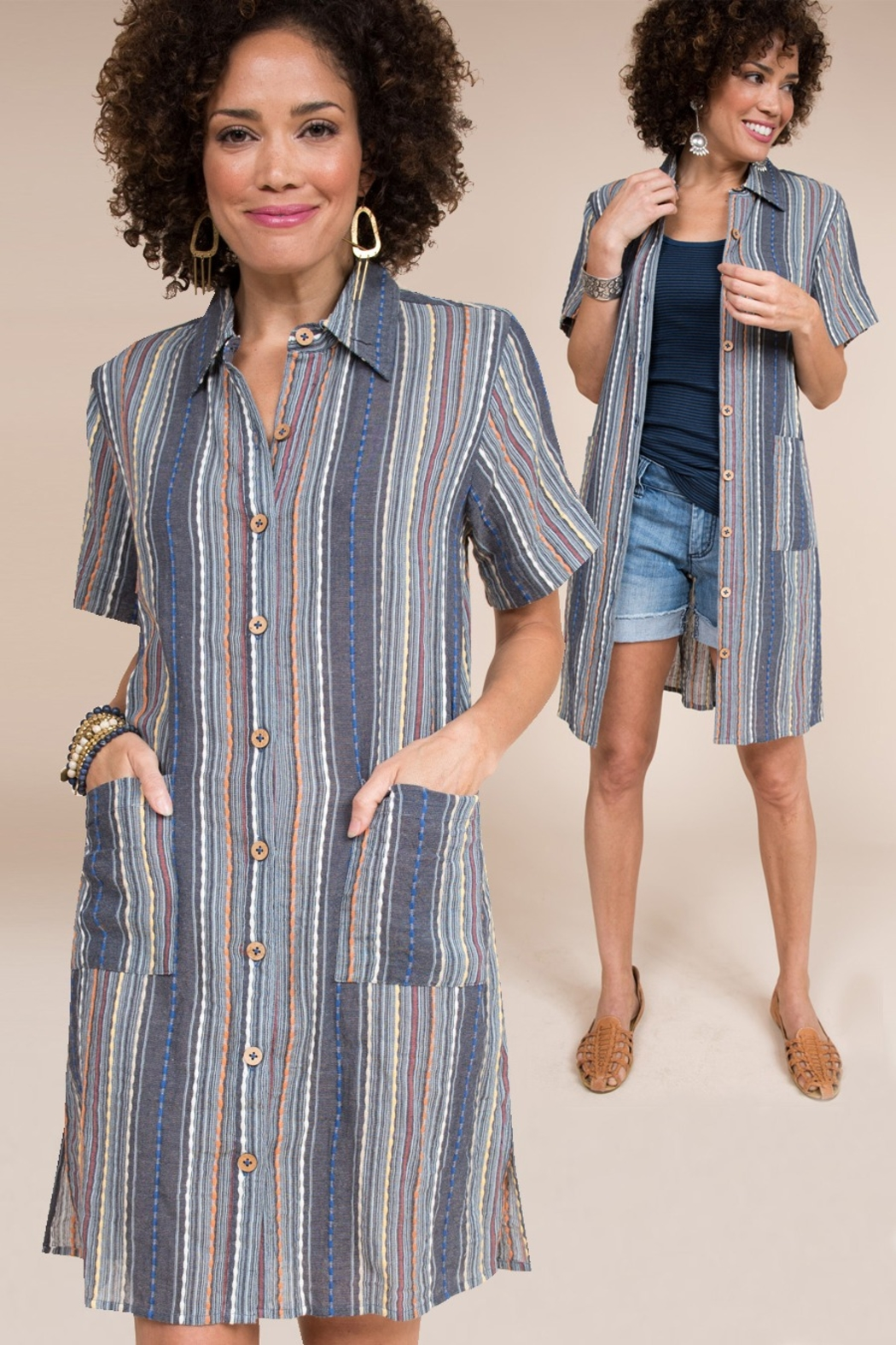 Ivy Jane  Stripe Tunic/Shirt With Pockets - Main Image