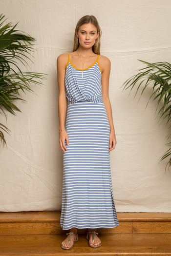 Hem & Thread Stripe Twist Front Maxi Dress from Kansas by Eccentricity — Shoptiques