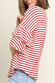 Umgee USA Stripe Vneck Top - Front full body