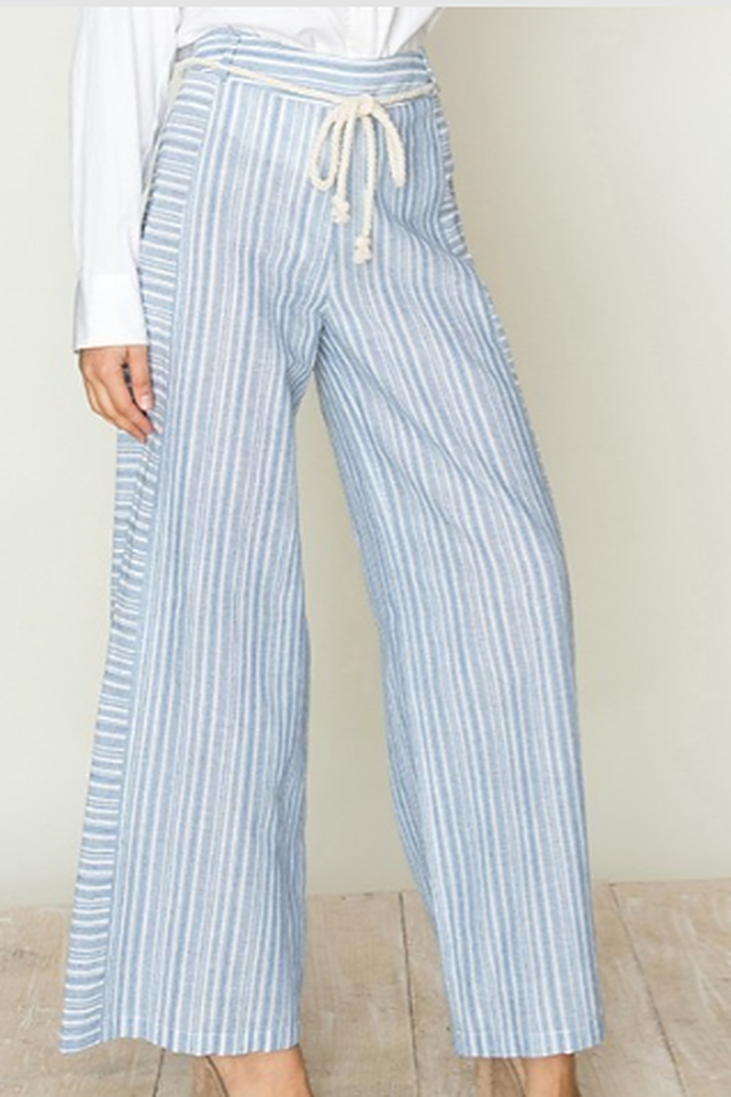 fashion on earth Stripe Wide Leg Pants - Front Cropped Image