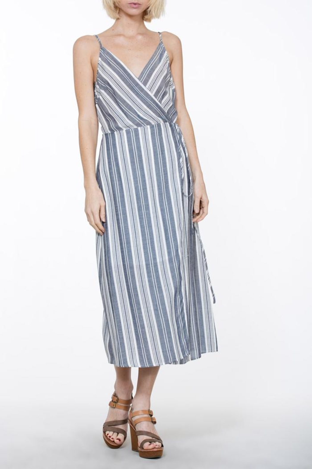 En Creme Stripe Wrap Dress - Main Image