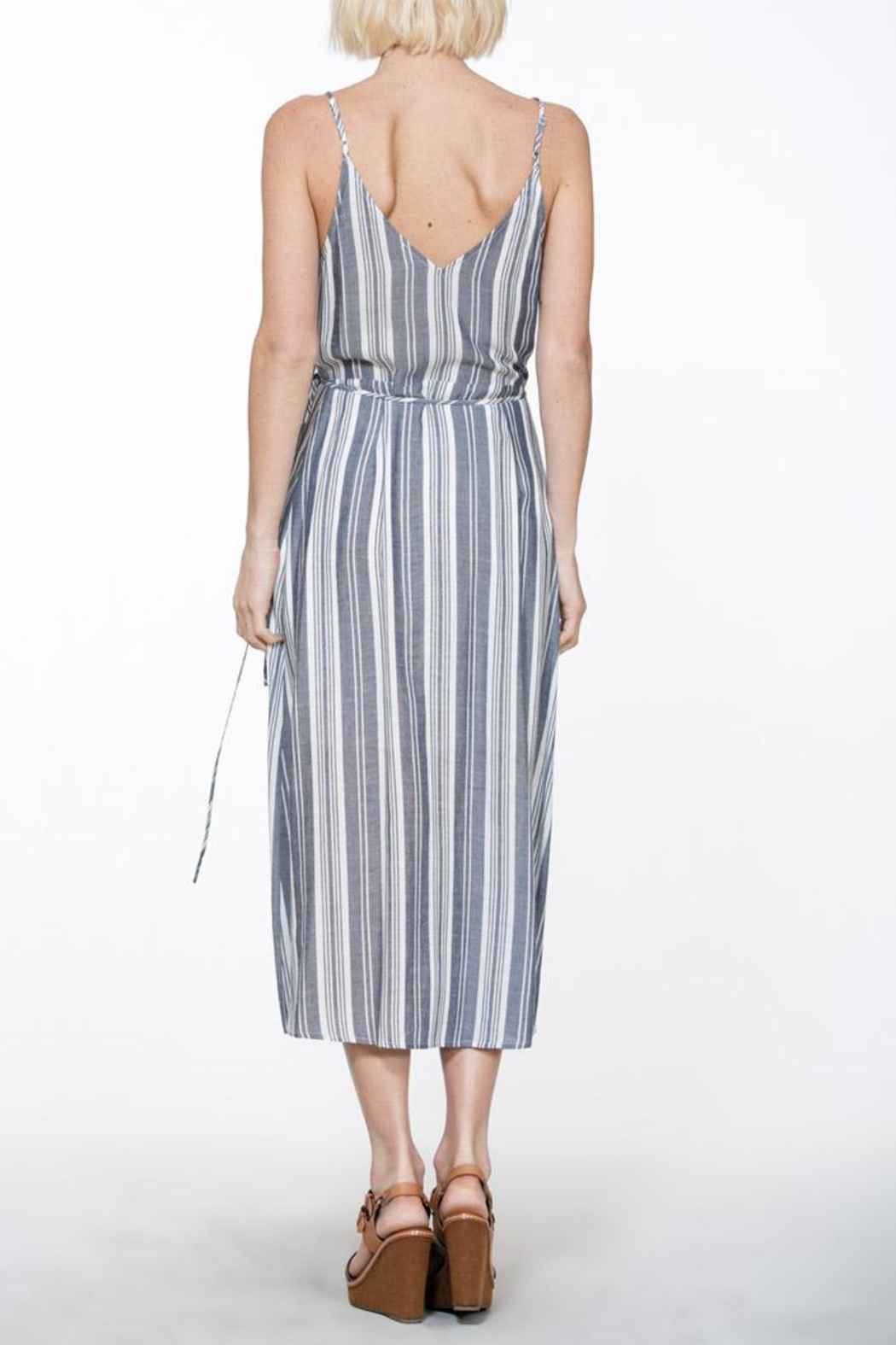 En Creme Stripe Wrap Dress - Front Full Image