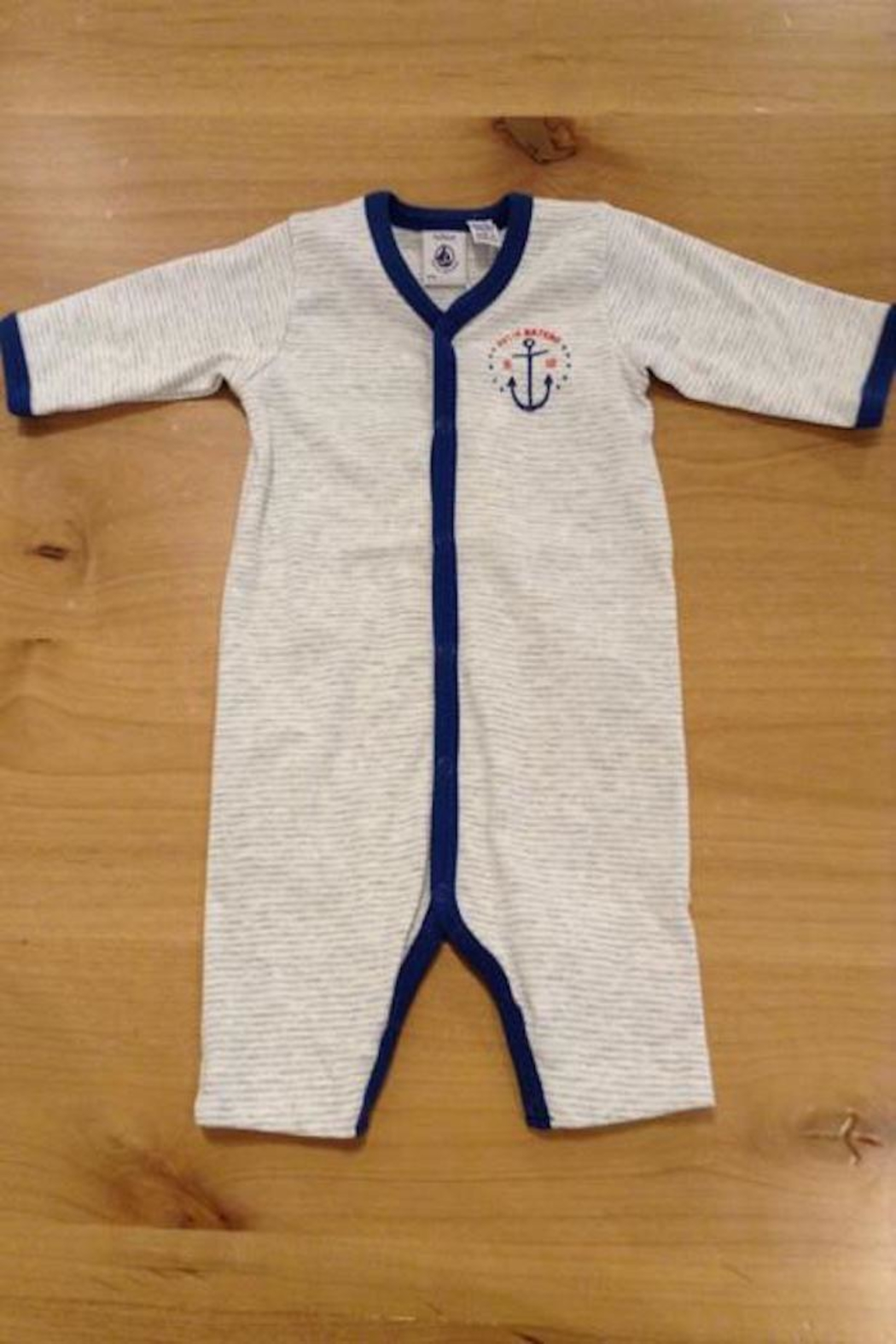 Petit Bateau Striped Anchor Onesie - Front Cropped Image