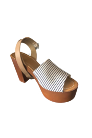 Bamboo Striped Ankle Strap Heel - Product Mini Image