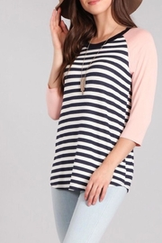 Chris & Carol Striped Baseball Tee - Product Mini Image