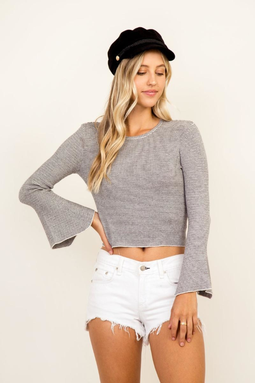 Olivaceous Striped Bell Sleeve - Side Cropped Image