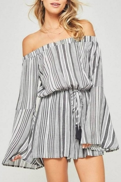 Shoptiques Product: Striped Bell-Sleeve Romper