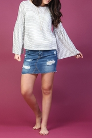 Olivaceous Striped Bell-Sleeve Top - Product Mini Image