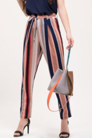Mine and E&M Striped Belted Pants - Front cropped