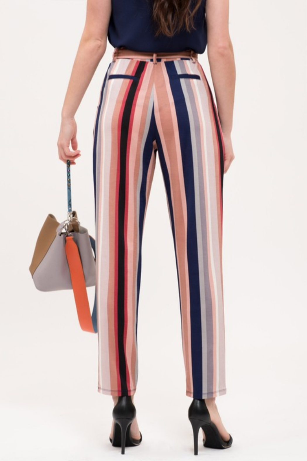 Mine and E&M Striped Belted Pants - Front Full Image
