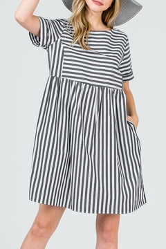 Ces Femme Striped Bib Dress - Alternate List Image