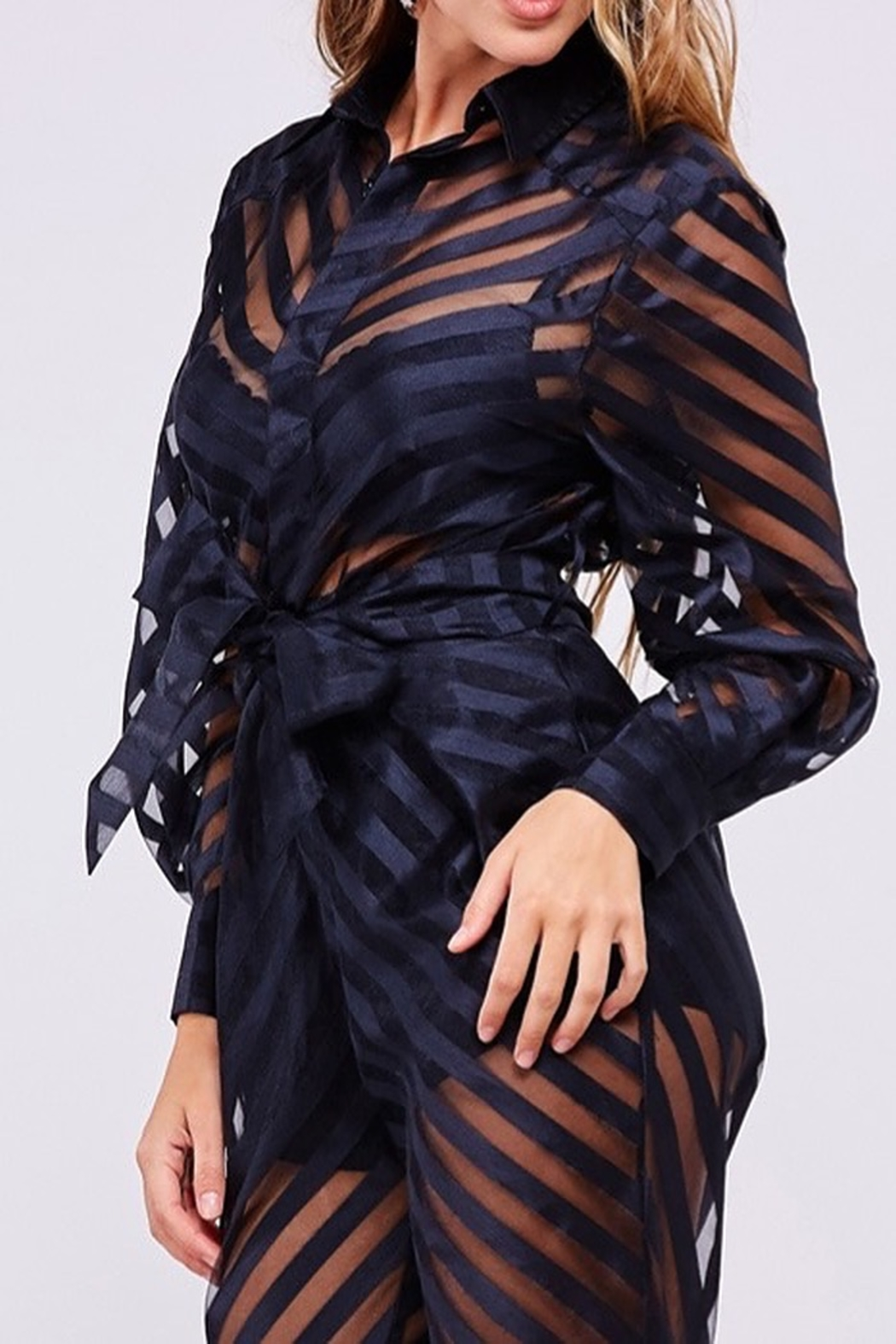 Latiste STRIPED BLACK JUMPSUIT - Front Full Image