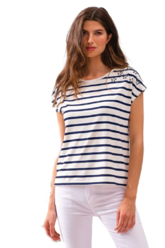 Alison Sheri Striped Bling Tee - Product List Image