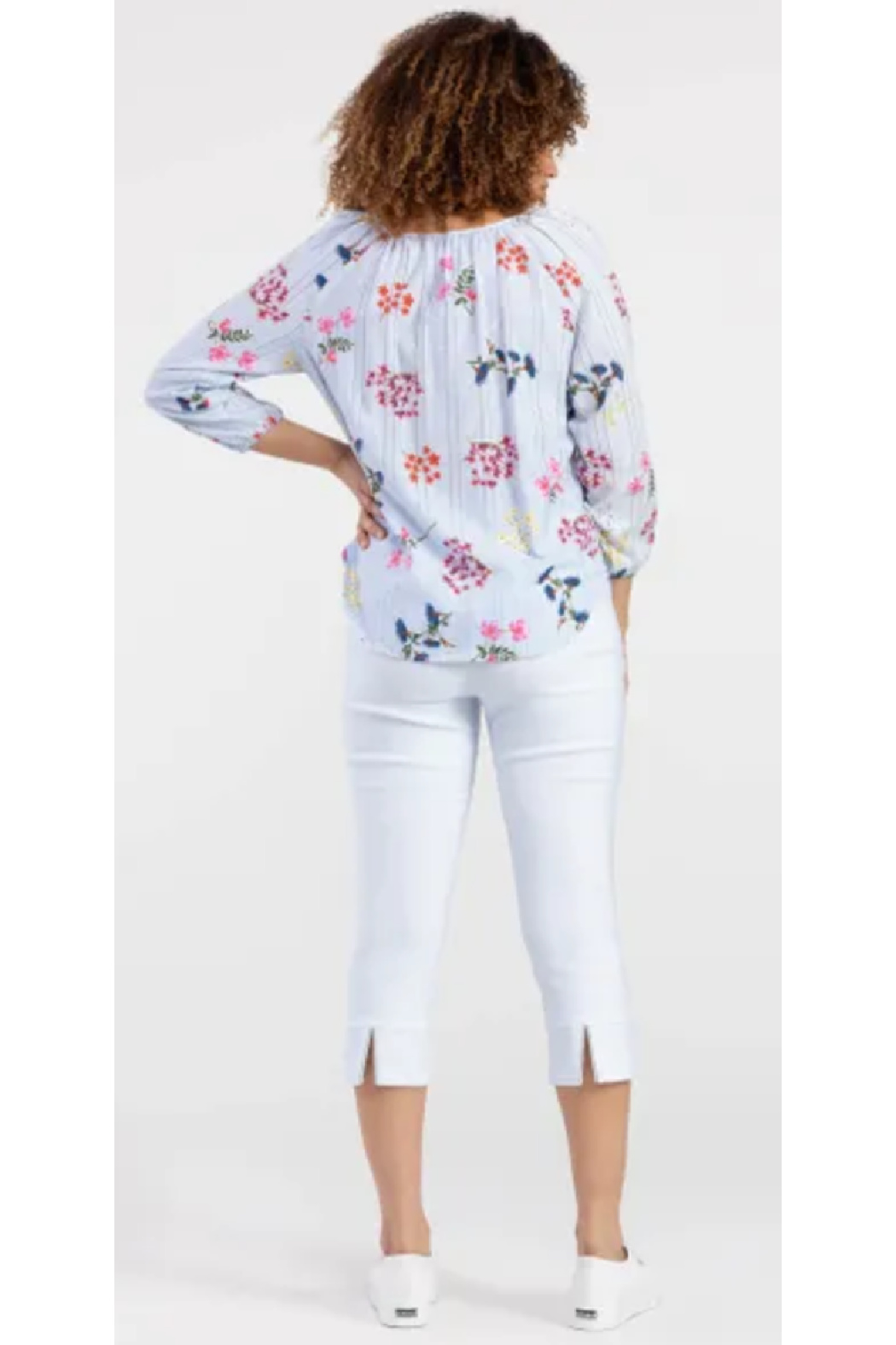 Tribal  Striped Blouse with Florals - Side Cropped Image