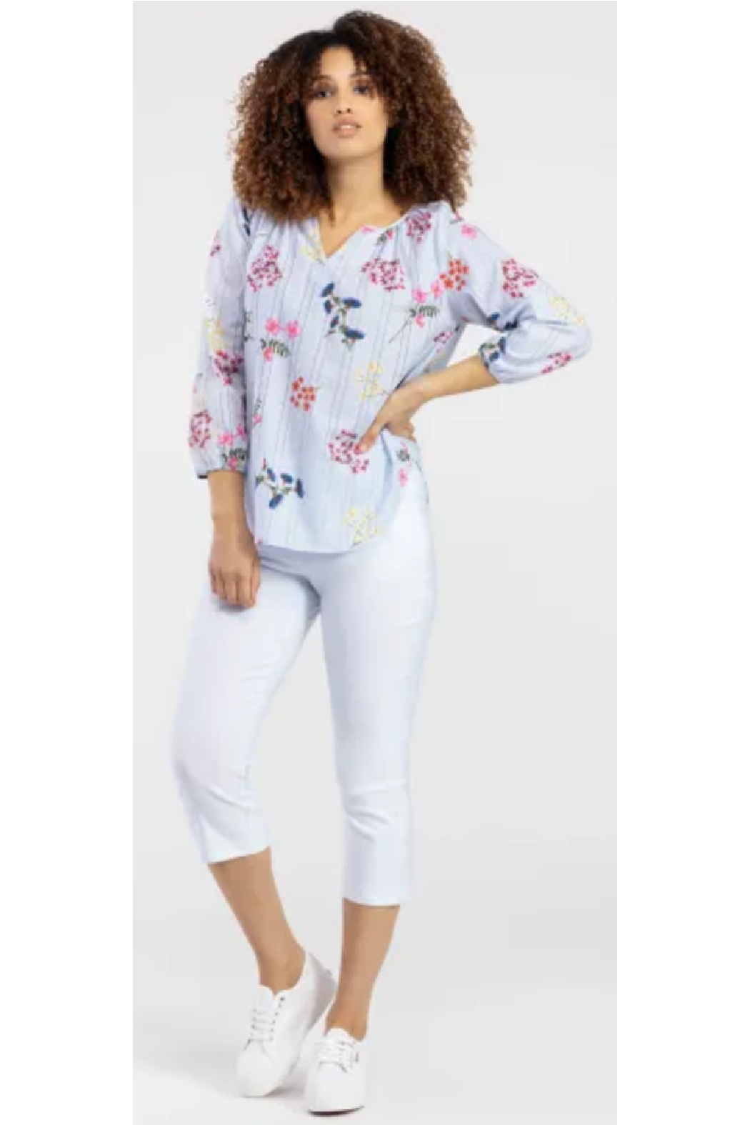 Tribal  Striped Blouse with Florals - Front Cropped Image