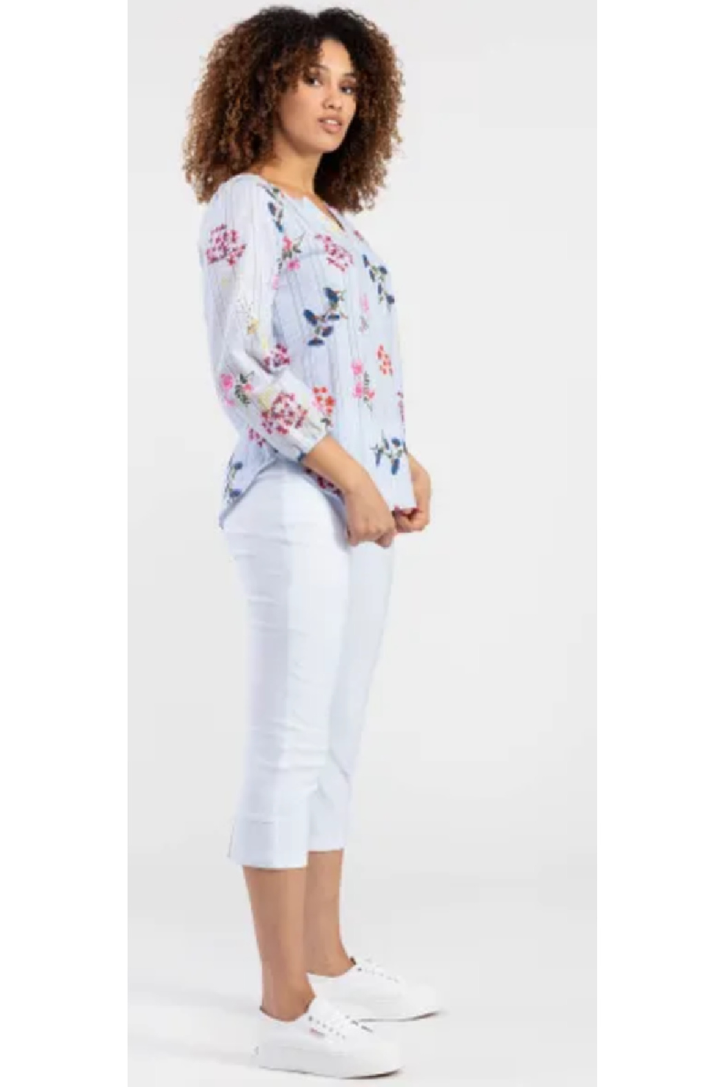 Tribal  Striped Blouse with Florals - Front Full Image