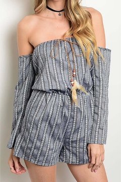People Outfitter Striped Blue Romper - Alternate List Image