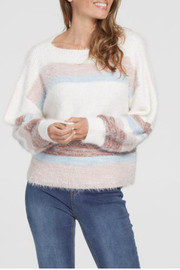 Tribal  Striped Boat neck Sweater - Product Mini Image