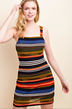 Wild Honey Striped Bodycon Dress - Product List Image