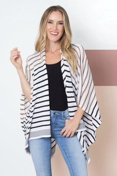 Simply Noelle Striped Bordeaux Cardi-Wrap - Product List Image