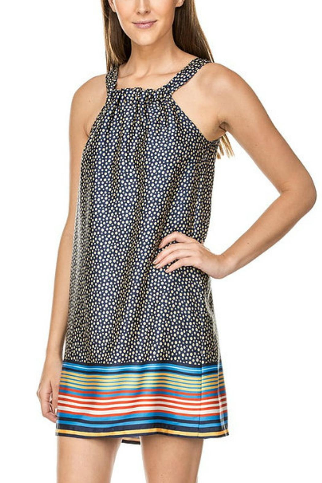 Jade Striped-Border Print Dress - Front Cropped Image