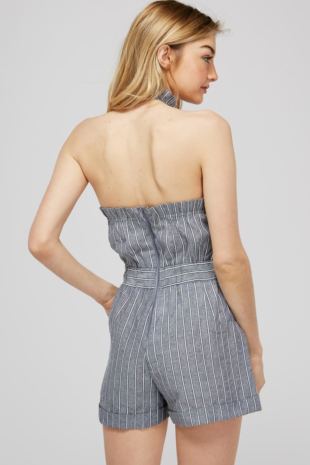storia Striped Bow Romper - Back Cropped Image