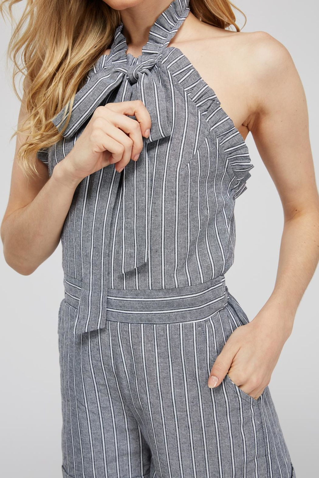 storia Striped Bow Romper - Side Cropped Image